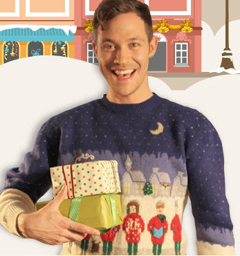 Will Young wearing a jumper designed by Martin.
