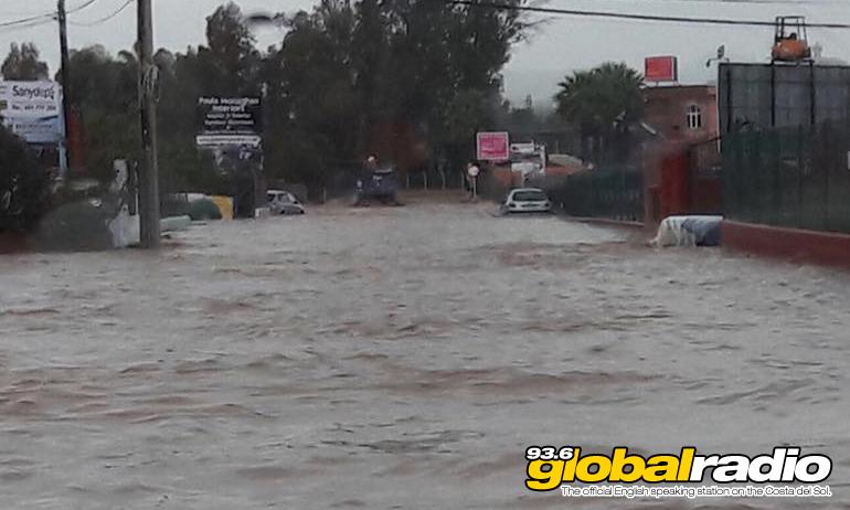 Flood waters in Las Lagunas, by Sally Clarke