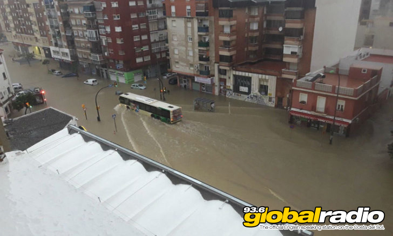 Malaga City Centre flooded