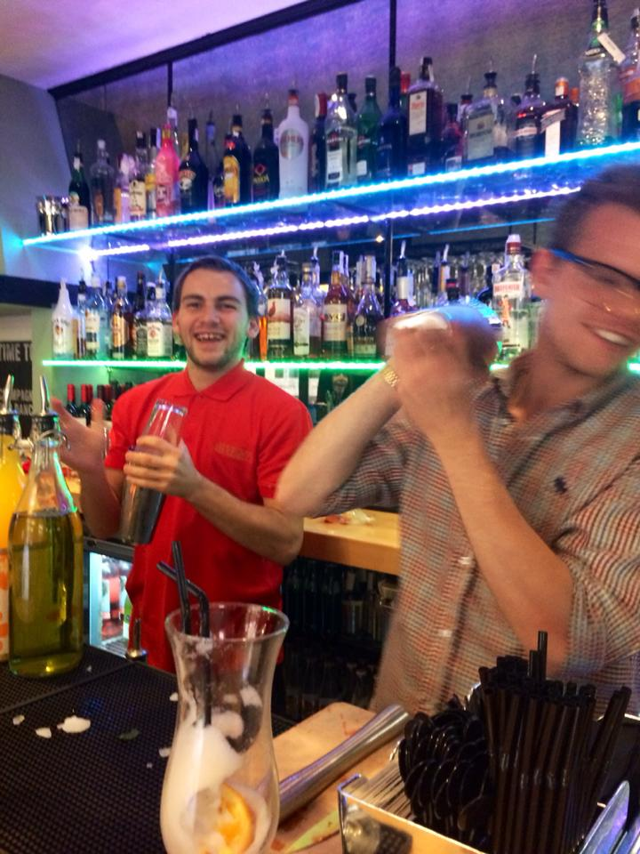 Danny working behind the bar at Arkwright's