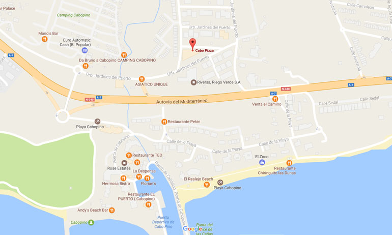 Cabo Pizza Bistro, Pizza Restaurant and Take Away, Cabopino, East Marbella, Costa del Sol Map