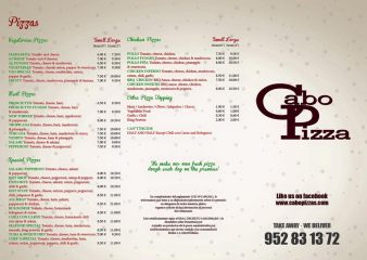 Cabo Pizza Bistro, Pizza Restaurant and Take Away, Cabopino, East Marbella, Costa del Sol Menu 01