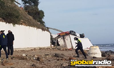 Lorry Crashes Onto Beach At La Cala