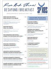 Spikes Restaurant, Miraflores Golf Club, Breakfast Menu