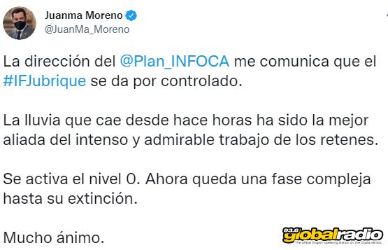 Estepona Fire Under Control Juanma Moreno Tweet